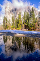 El Capitan seen from Cathedral Beach with reflection in Merced River. Yosemite National Park. California.