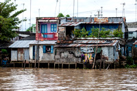 Stilt houses in Mekong River Delta. Vietnam, Indochina, South East Asia. Orient. Asia.