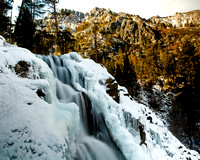 Lower Eagle Falls and ice formations above Emerald Bay at Lake Tahoe. Califonia. USA.