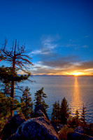 Sunset at Logan Shoals on the East side of Lake Tahoe, California, USA.