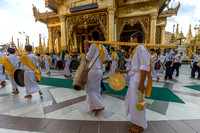 Procession. Religious Ceremony at Shwedagon Pagoda. Yangon. Myanmar.