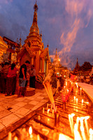 Candle lights. Shwedagon Pagoda, Yangon. Myanmar.