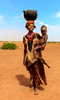 Dasanech woman with child. Ethiopia,Africa.