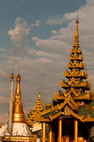 Sunset at Shwedagon Pagoda Yangon. Myanmar.