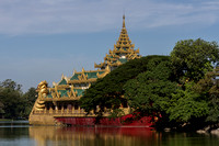 Temple at Kandawgyi Lake. Yangoon. Myanmar.