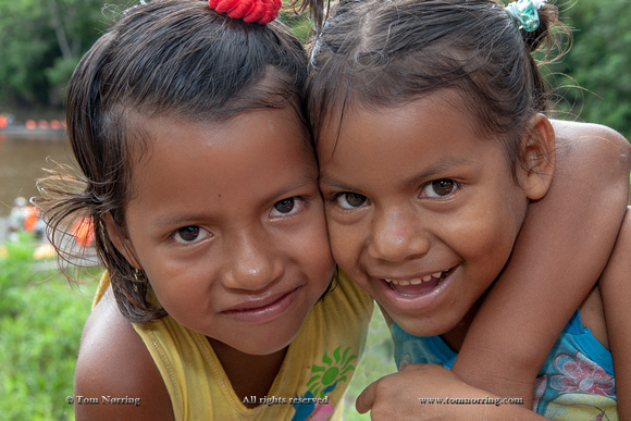 Happy Girls. Amazon basin. Peru. South America.