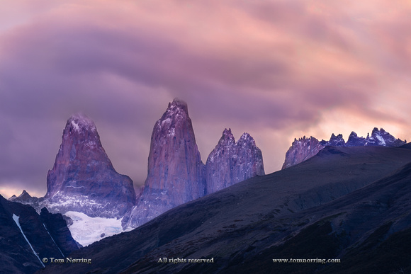 Las Torres after sunset. Torres del Paine National Park. Chile. South America. Unesco biosphere.