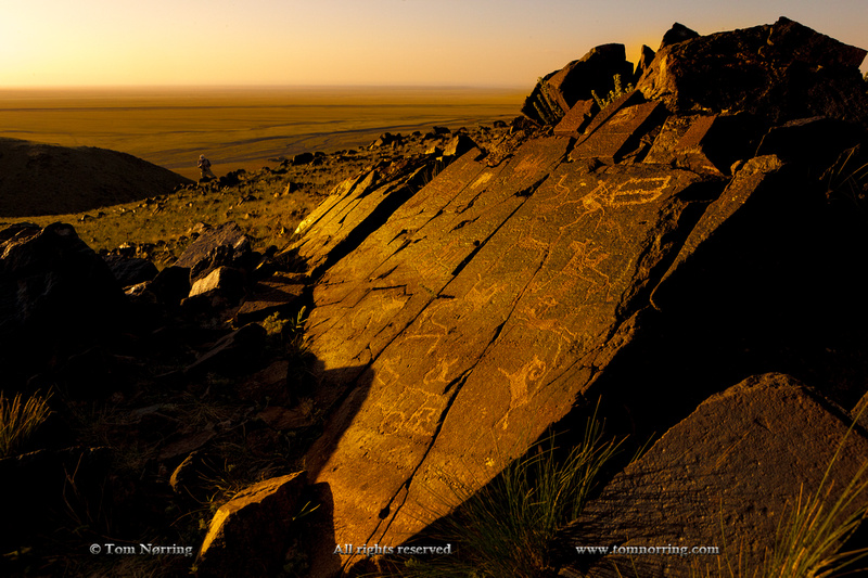 Ancient petroglyphs, 7000 BC. Havtsgait Valley. Gobi Desert. Mongolia.