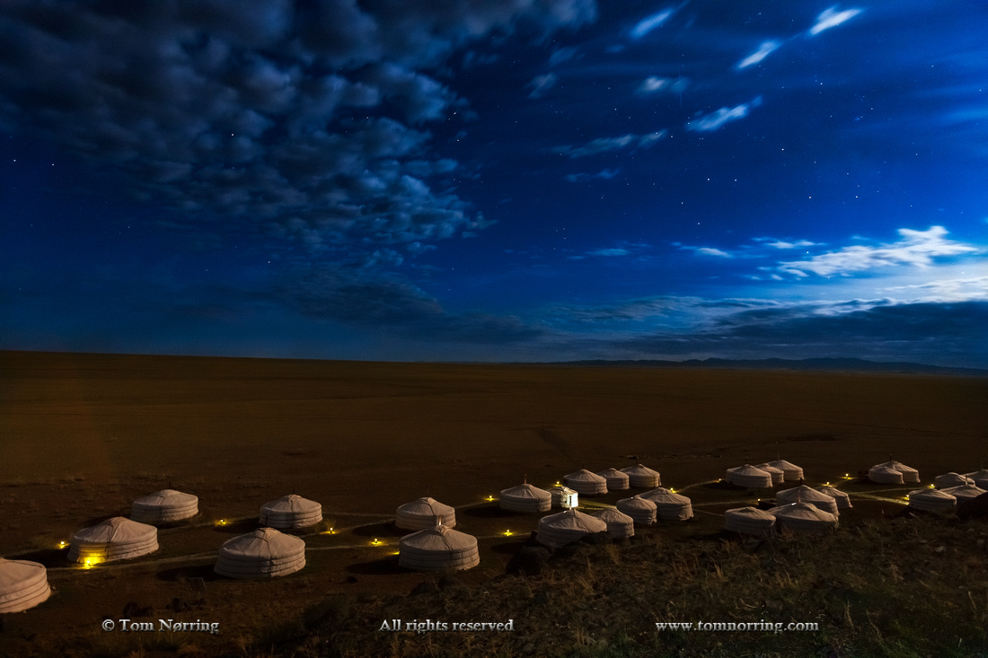 Stars over Three Camel Lodge. Ger Camp. Gobi Desert. Mongolia.