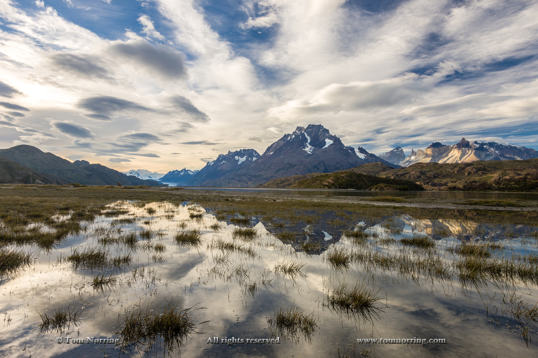 Lago Grey. Cordillera del Paine in the background. Torres del Paine National Park. Chile. South America. Unesco biosphere.