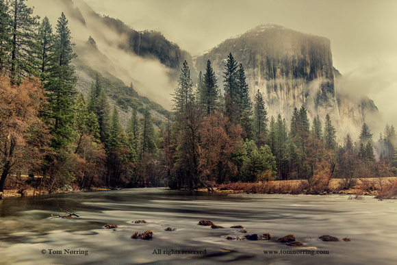 Valley View in Winter with El Capitan and Merced River. Slow Shutter Speed. Yosemite National Park. California.