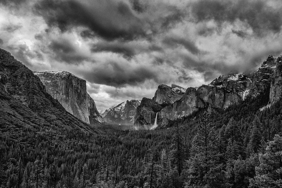 Tunnel View with El Capitan and Bridalveil Falls in Black and White. Yosemite National Park. California.