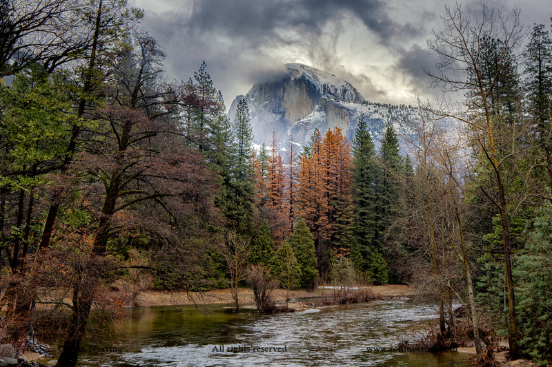 Half Dome View from Sentinel Bridge in Winter. Yosemite National Park. California.