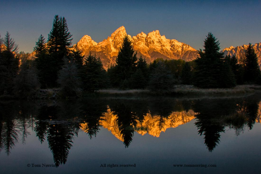 Iconic Sunrise Image of Schwabacher Landing. Grand Teton National Park. Wyoming.