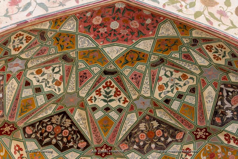Architectural detail. Amber Fort. Jaipur. Rajasthan. India.