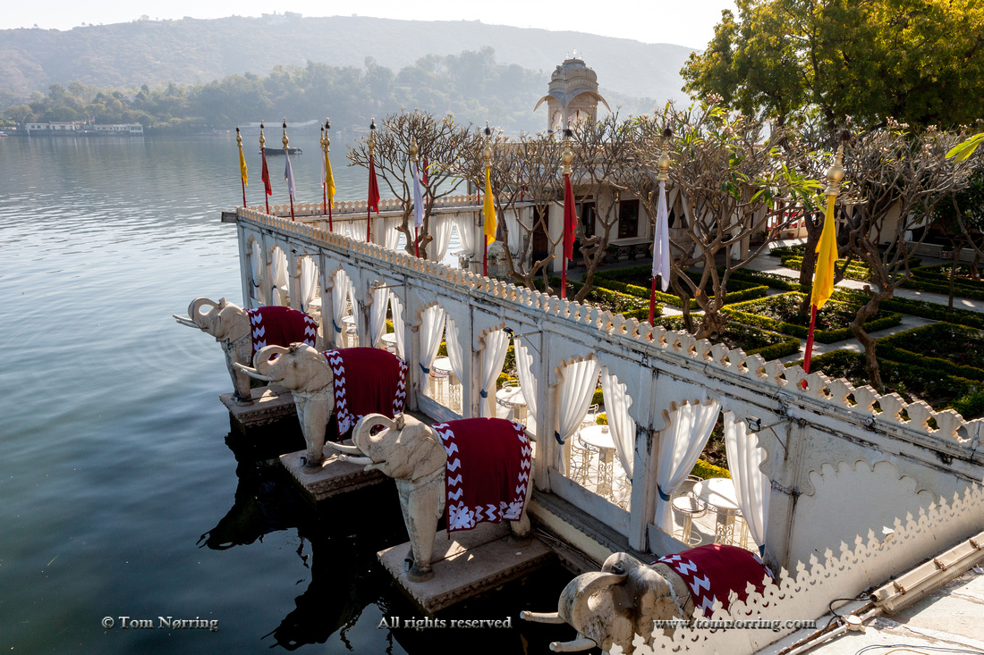Elephants guarding Palace hotel. Jag Niwas. Lake Pichola. James Bonds Octopussi movie. Udaipur Rajasthan. India.