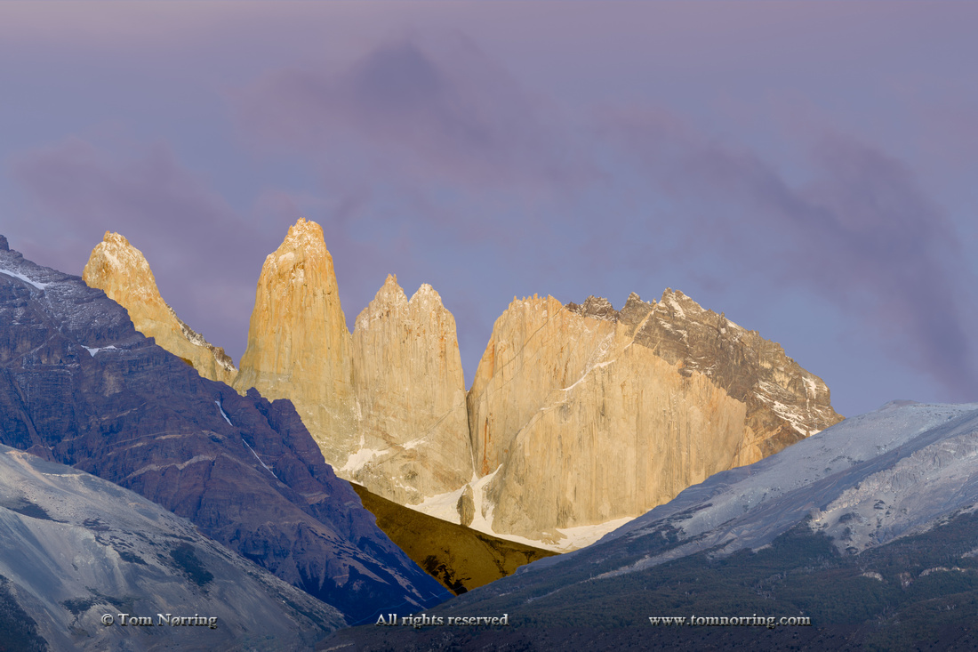 Las Torres before sunrise. Torres del Paine National Park. Chile. South America. Unesco biosphere.