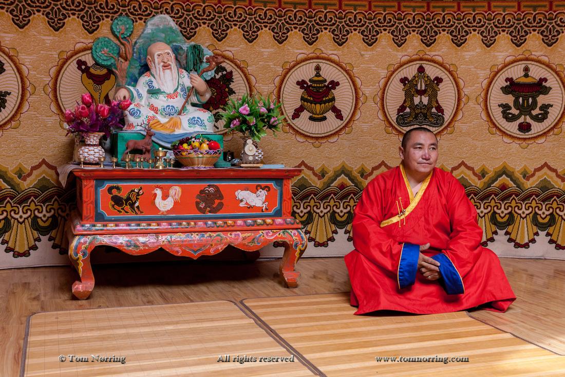 Head monk at meditation monastery.