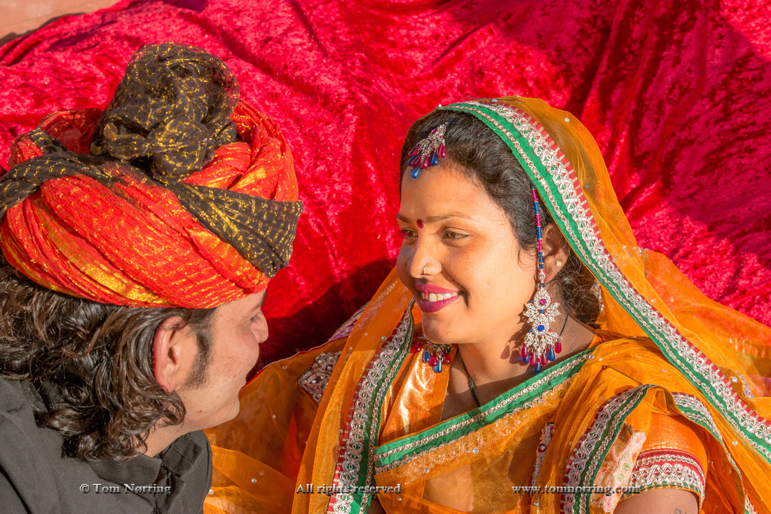 Colorful wedding costumes and sari. Model release. Pink City. Jaipur. Rajasthan. India.