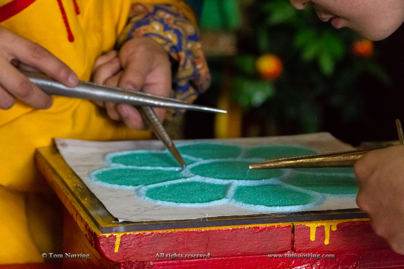 Tibetan Buddhist tradition. The creation and destruction of mandalas made from colored sand. Gandan Monastery, Mongolia.