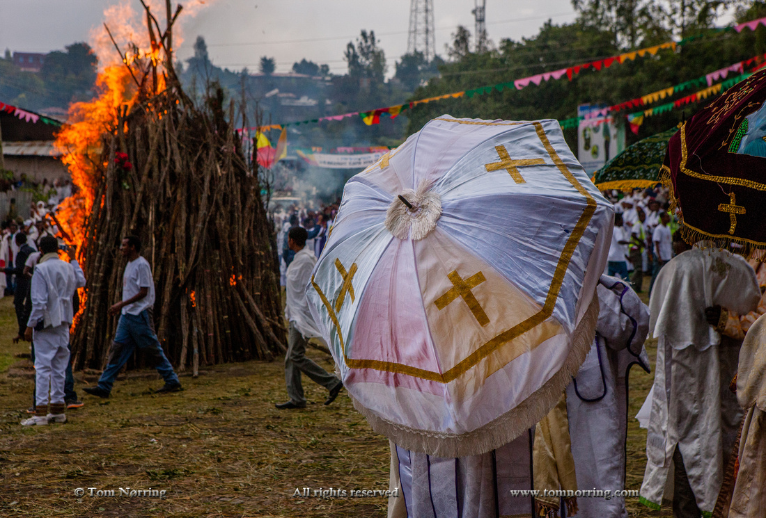 Fire ignited for Meskel Celebration. Lalibela. Ethiopia,Africa.