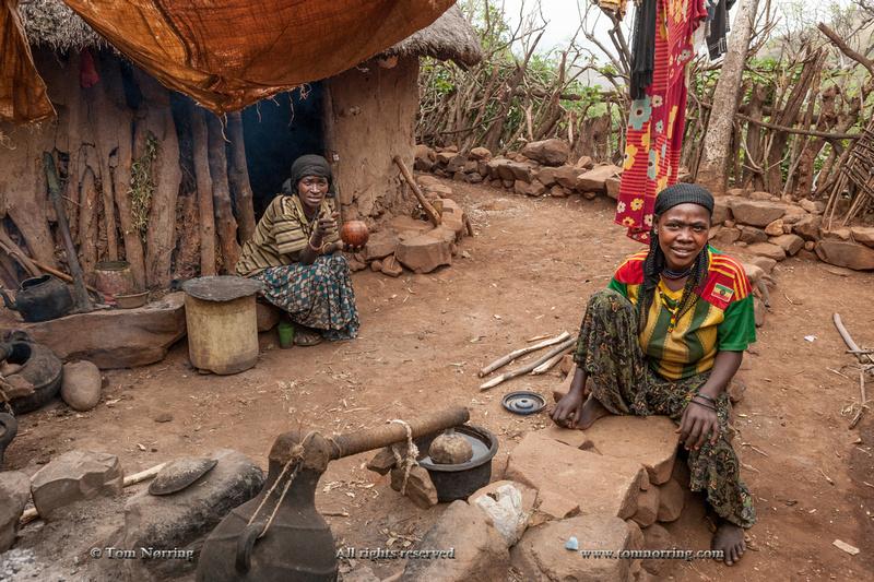 Women working. Konso family compound. UNESCO World Heritage. Omo Valley. Ethiopia,Africa.