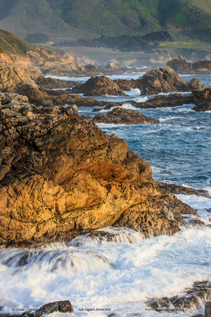 Surf moves on rock. Garrapata State Beach, Big Sur, California Pacific Coast. US