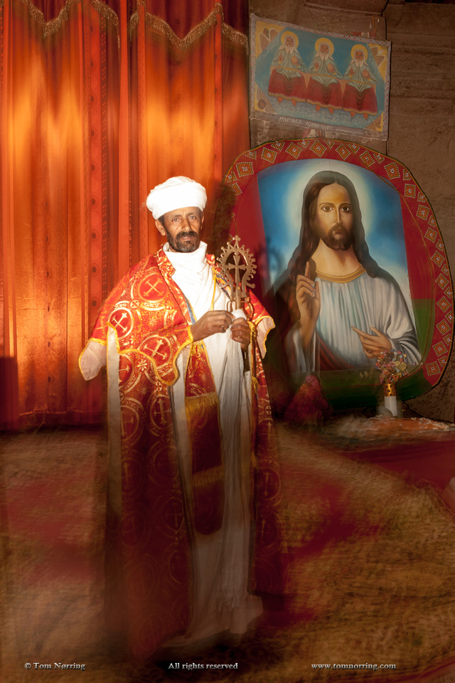 Bishop inside Bet Medhane Alem. Ethiopia,Africa.