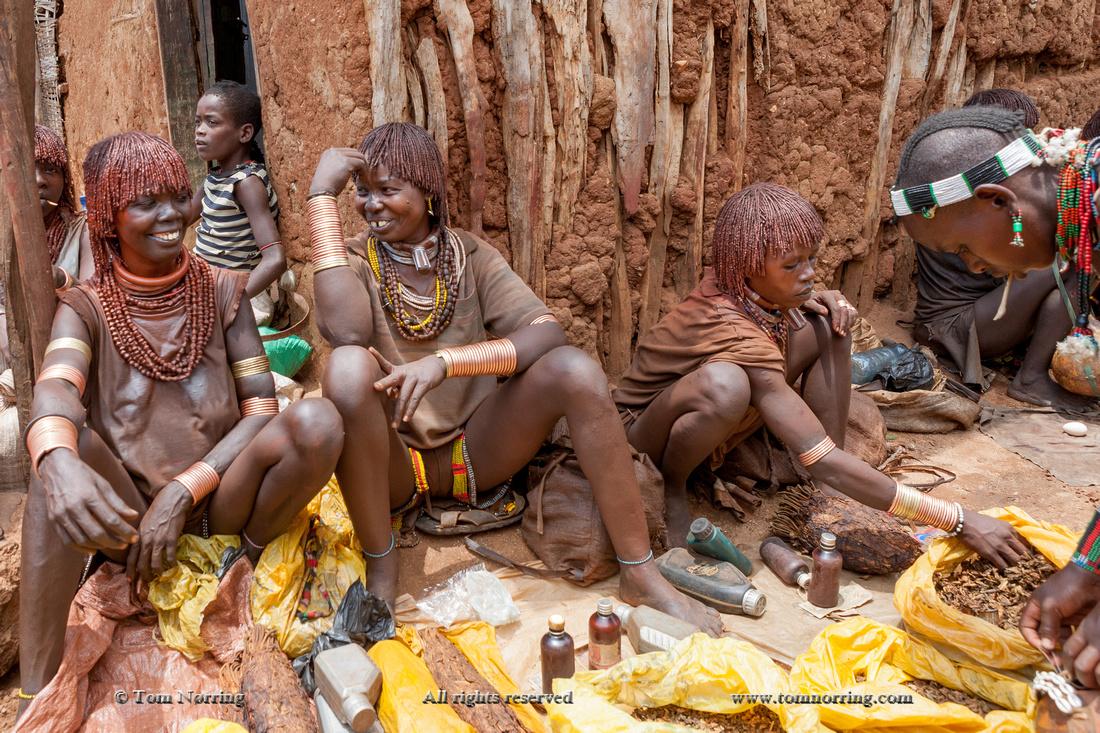 Hamer women at open air market in Dileka. Ethiopia,Africa.