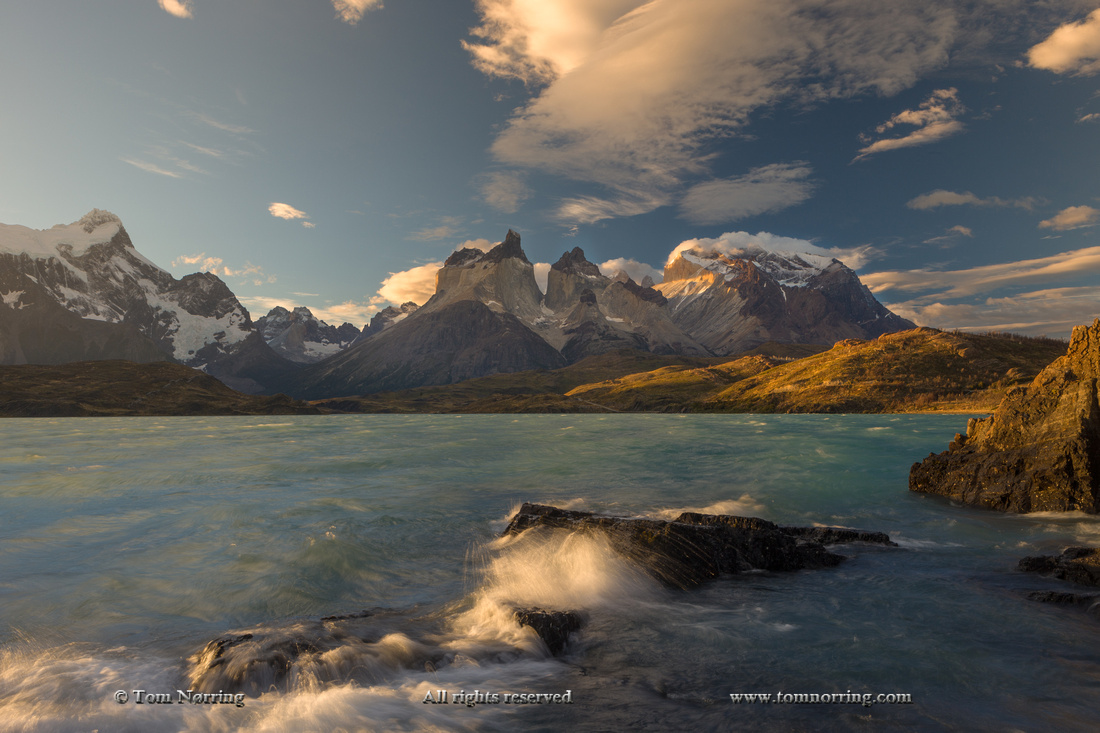 Cordillera del Paine. Gigantic granite monoliths. Cuernos del Paine. Torres del Paine National Park. Chile. South America. Unesco biosphere.