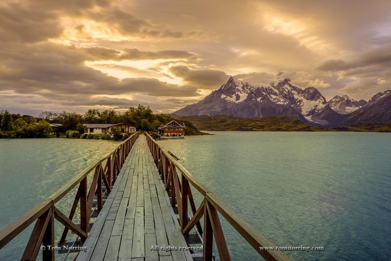 Hosteria Pehoe. Cordillera del Paine. Gigantic granite monoliths. Cuernos del Paine. Torres del Paine National Park. Chile. South America. Unesco biosphere.