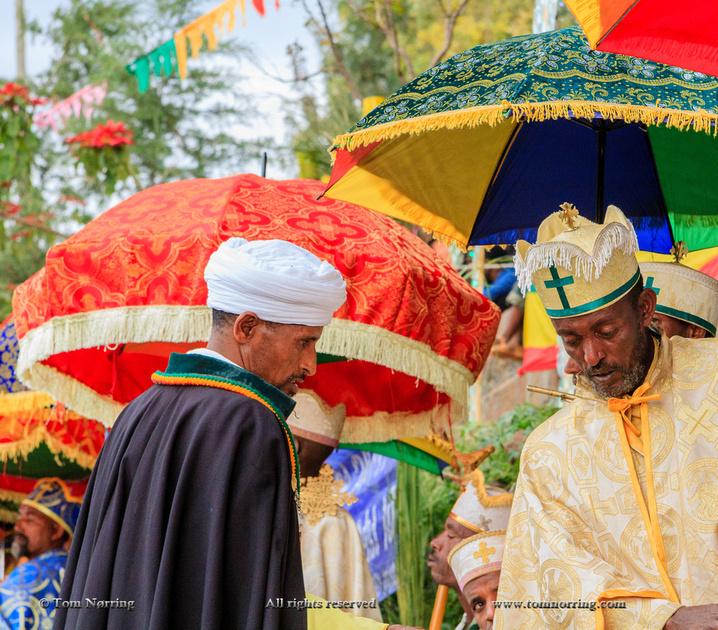 Clergy procession for Meskel celebration. Coptic Christian ceremony. Lalibela. Ethiopia,Africa.
