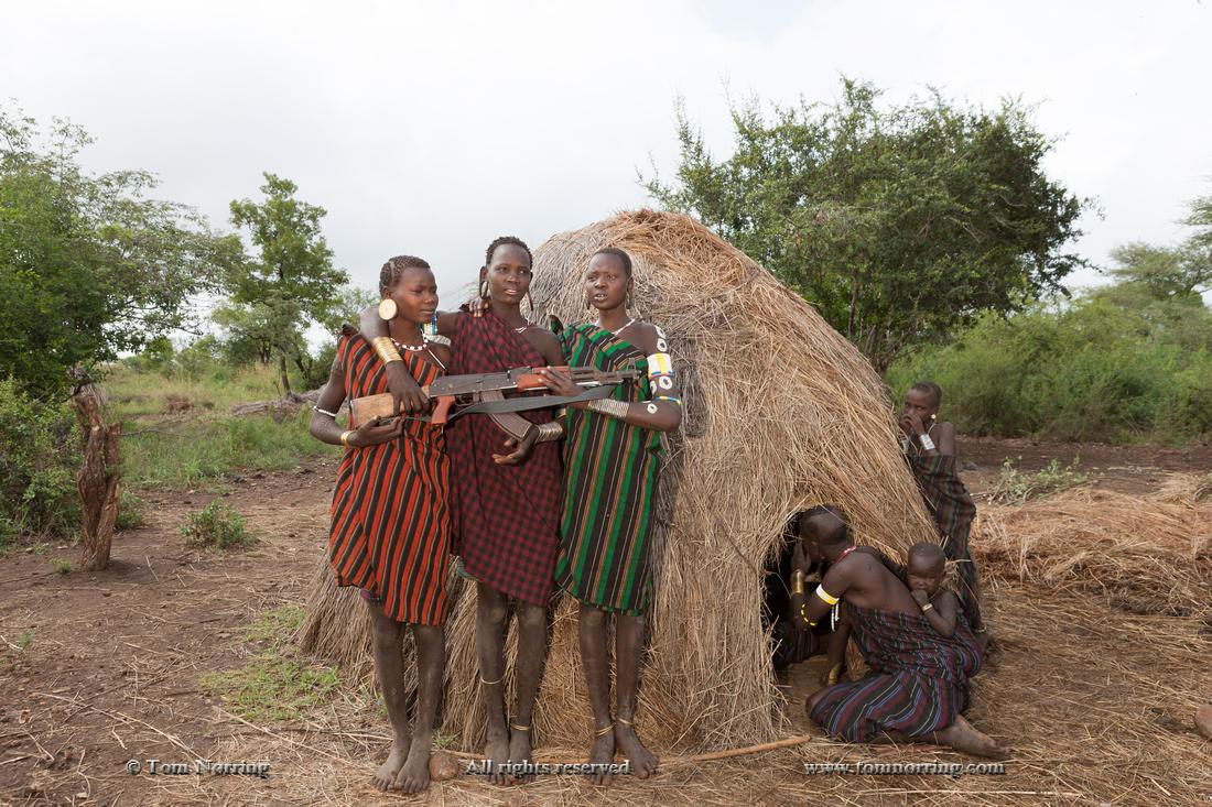 Mursi tribe. Militia Village. Mago National Park. Ethiopia,Africa.