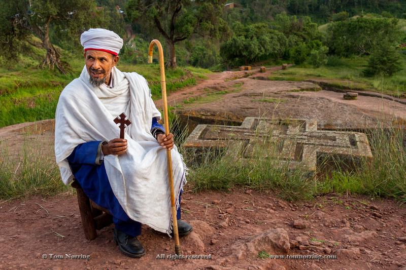Bishop outside Bet Giyorgis aka St George Church. Ethiopia,Africa.