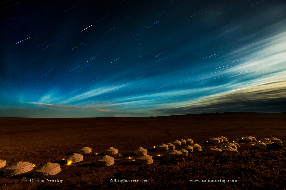 Star trails and Moonlight over Three Camel Lodge. Ger Camp. Gobi Desert. Mongolia.