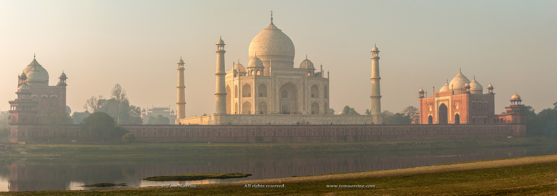 Panorama. Taj Mahal in morning mist. Agra. India.